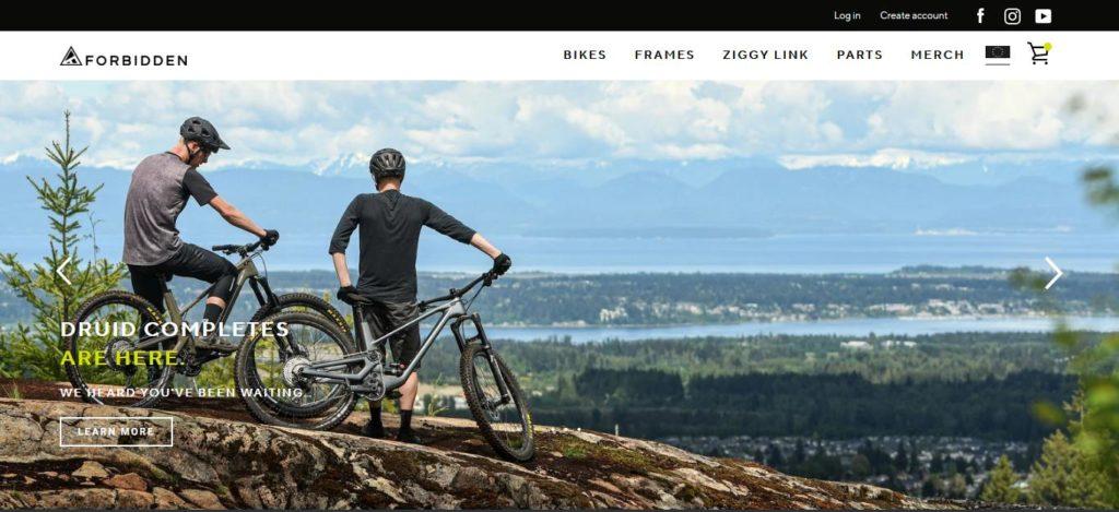 Screenshot Forbidden Bikes Website